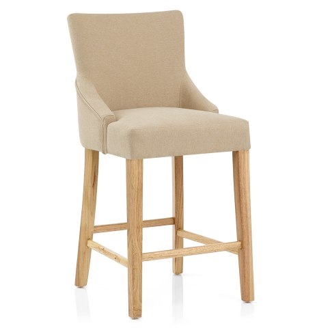Magna oak beige fabric bar stool atlantic shopping - Fauteuil de bar avec accoudoir ...