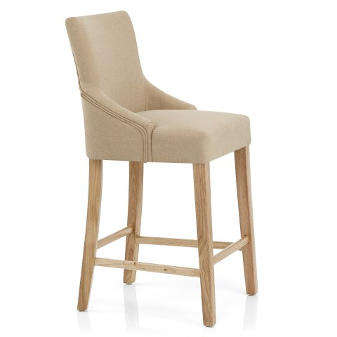 Magna Oak & Beige Fabric Bar Stool
