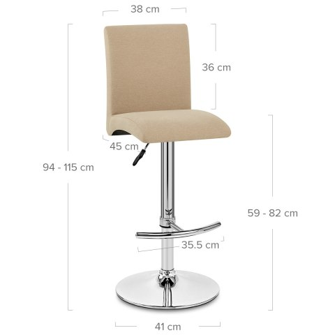 Deluxe High Back Stool Beige Fabric