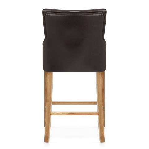 Magna Oak & Brown Faux Leather Stool