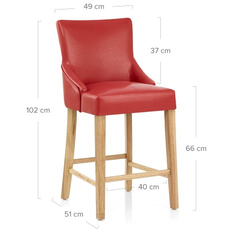 Magna Oak & Red Faux Leather Stool