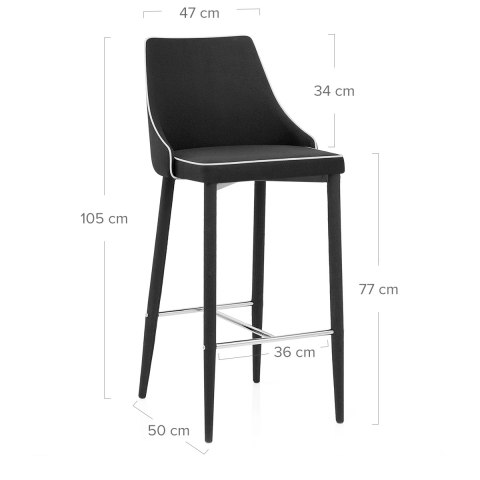Shelby Kitchen Stool Black Fabric