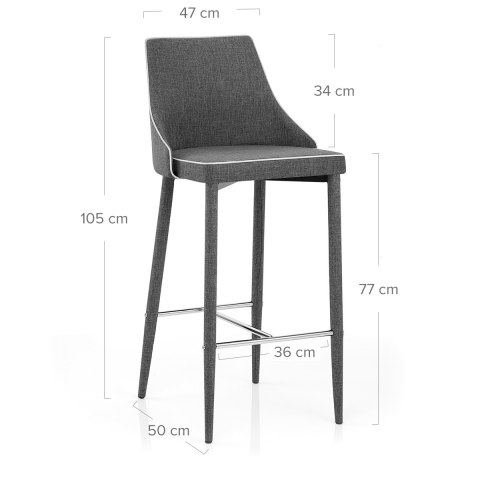 Shelby Kitchen Stool Grey Fabric