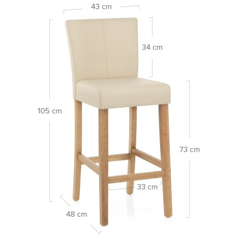 Cornell Oak Bar Stool Cream