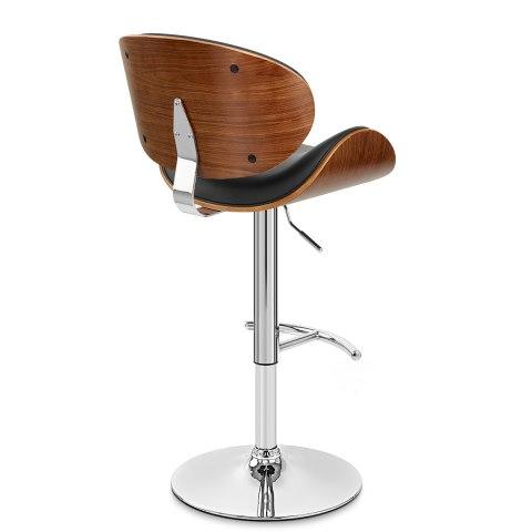 theo walnut bar stool black leather atlantic shopping. Black Bedroom Furniture Sets. Home Design Ideas