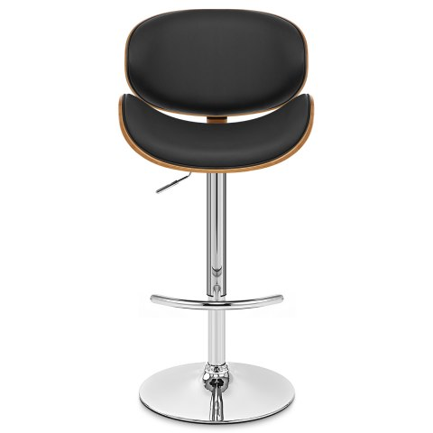 Theo Walnut Bar Stool Black Leather