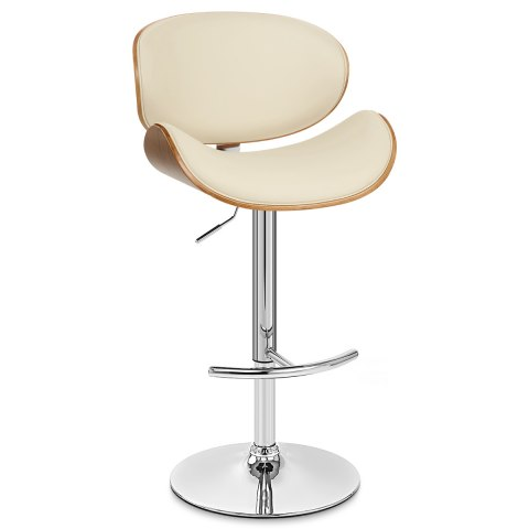 Theo Walnut Bar Stool Cream