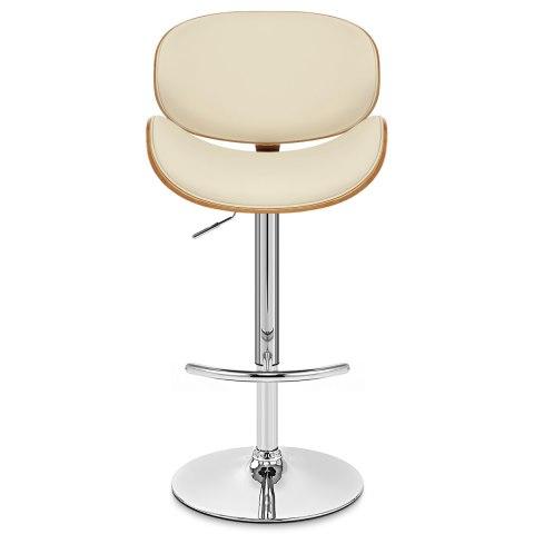 Theo walnut bar stool cream leather atlantic shopping for Barhocker beige