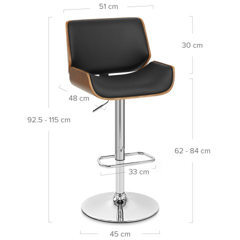 Aldo Walnut Bar Stool Black Leather