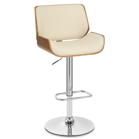 Aldo Walnut Bar Stool Cream