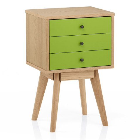 Ambience Set Of Drawers Oak & Green