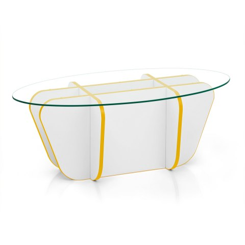 XO Coffee Table Yellow & White