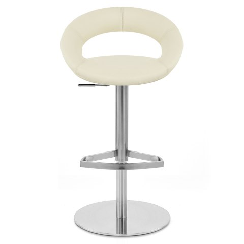 Real Leather Crescent Bar Stool Cream