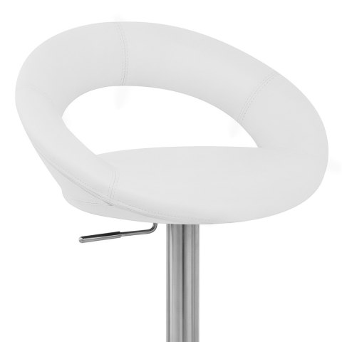Real Leather Crescent Bar Stool White