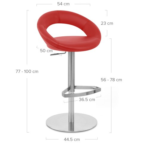 Real Leather Crescent Bar Stool Red