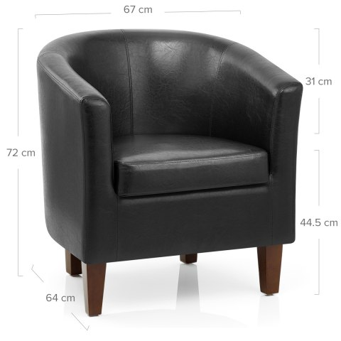 Tub Chair Black Faux Leather