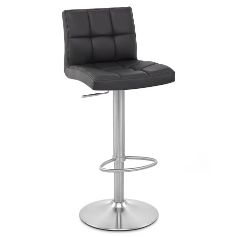 Starz Brushed Steel Stool Black