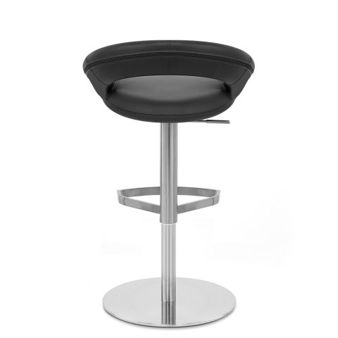 Real Leather Crescent Bar Stool Black