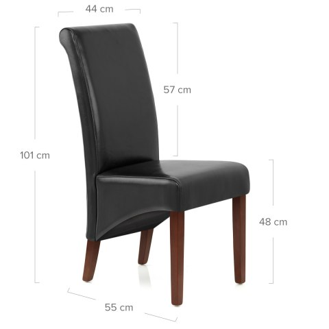 Carlo Walnut Chair Black Leather