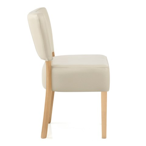 Genial ... Ramsay Oak Dining Chair Cream Leather ...