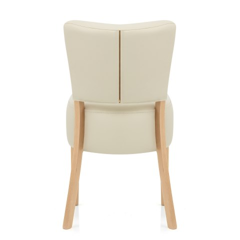 Ramsay Oak Dining Chair Cream Leather