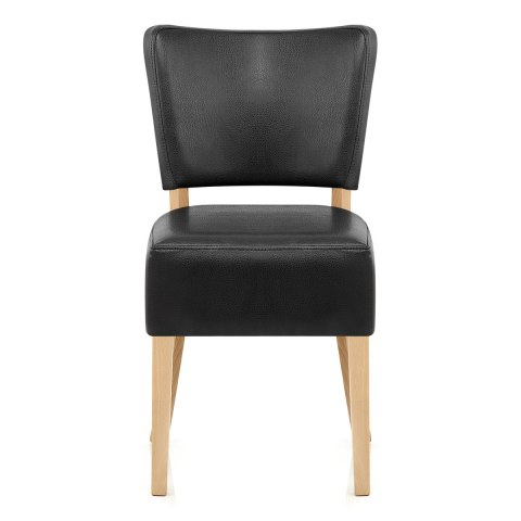 Ramsay Oak Dining Chair Black Leather