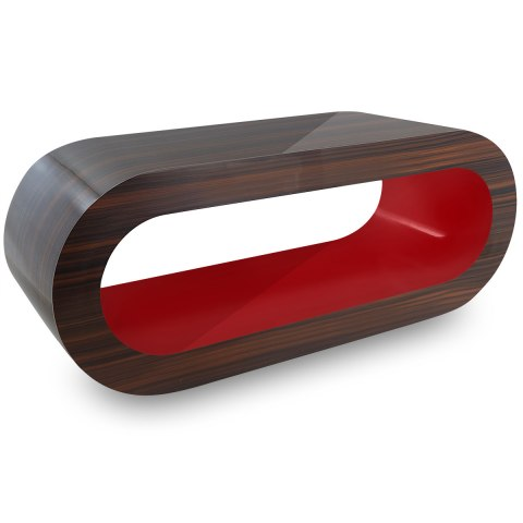 Walnut Orbit Coffee Table Red Inner
