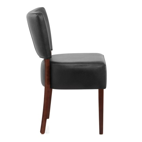 Ramsay Walnut Dining Chair Black Leather