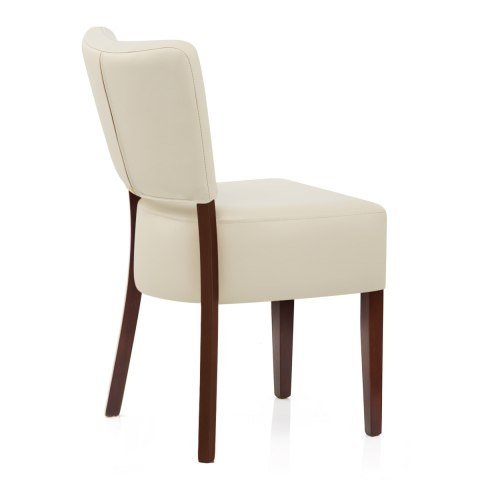 Ramsay Walnut Dining Chair Cream Leather