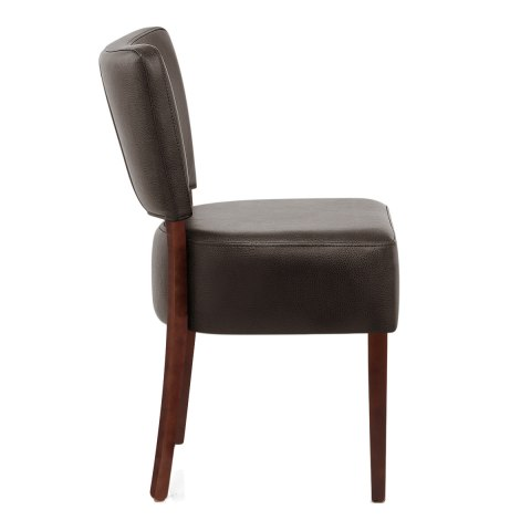 Ramsay Walnut Dining Chair Brown Leather