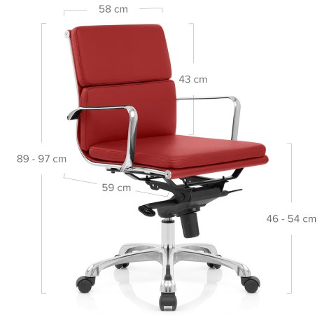 Eames Style 2 Cushion Office Chair Red