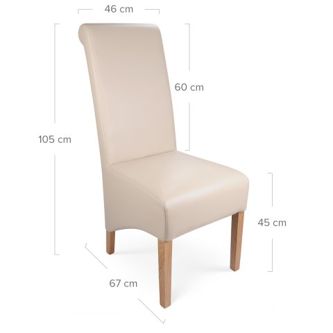 Krista Madras Leather Dining Chair Cream