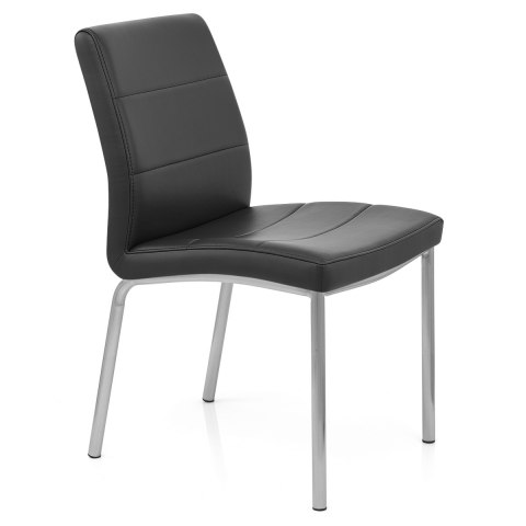 Brushed Steel Breakfast Dining Chair Black