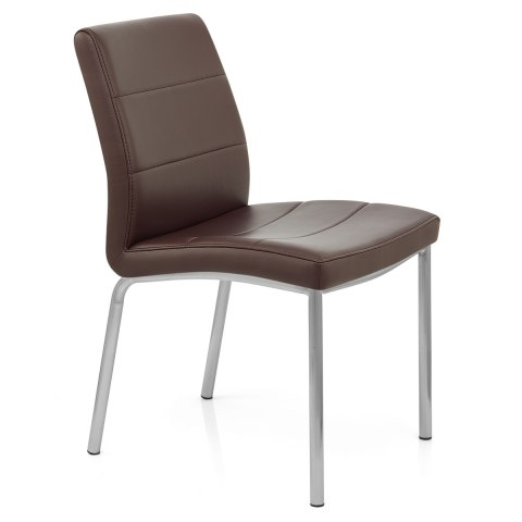 Brushed Steel Breakfast Dining Chair Brown