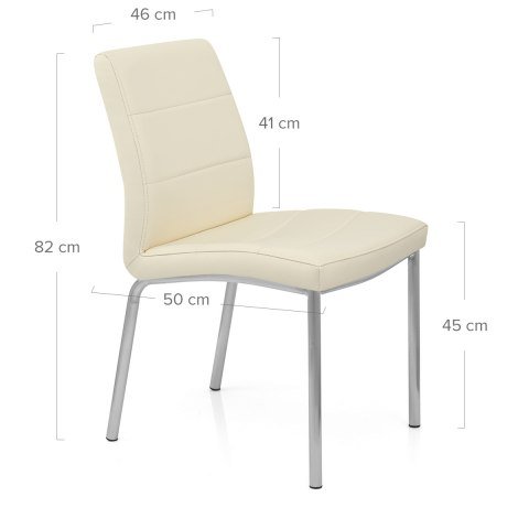 Brushed Steel Breakfast Dining Chair Cream