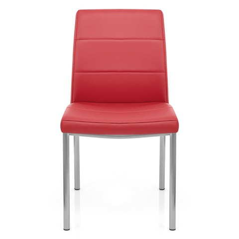 Brushed Steel Breakfast Dining Chair Red