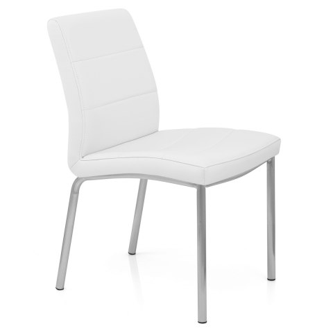 Brushed Steel Breakfast Dining Chair White