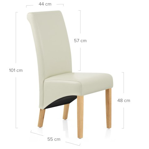 Carlo Oak Chair Cream Leather