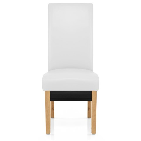 Carlo Oak Chair White Leather