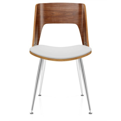 karma walnut dining chair white leather - atlantic shopping