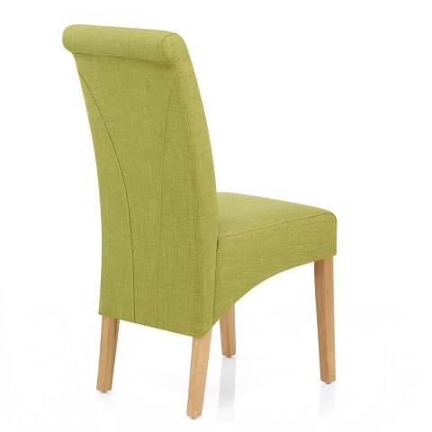 Carlo Oak Chair Green Fabric