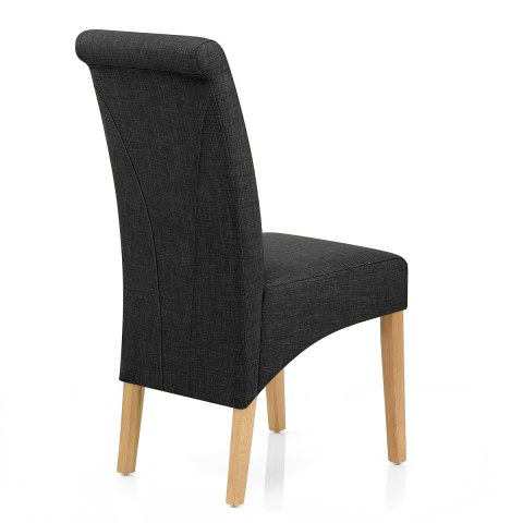 Carlo Oak Chair Charcoal Fabric