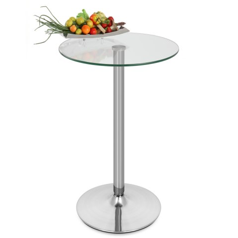 Vetro Brushed Steel Bar Table