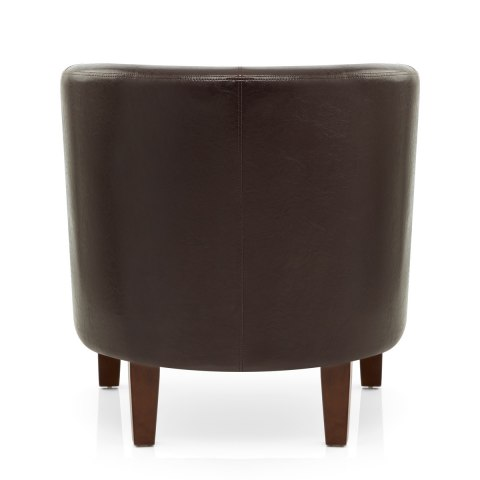 Tub Chair Brown Faux Leather