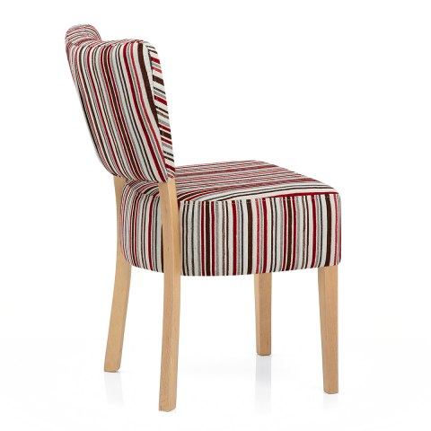 Ramsay Oak Dining Chair Ruby Stripe