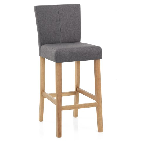 Cornell Oak Bar Stool Grey Fabric Atlantic Shopping