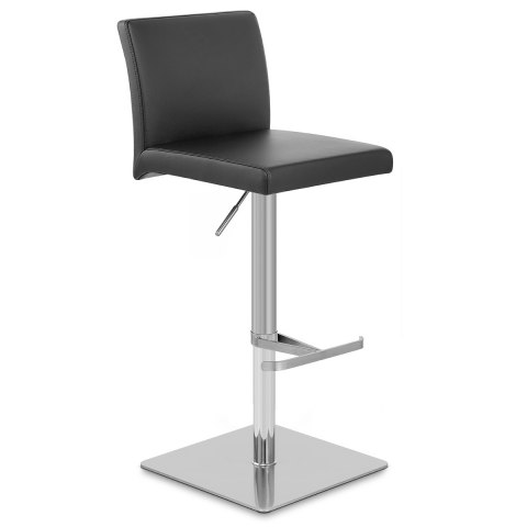 Lexi Brushed Steel Stool Black