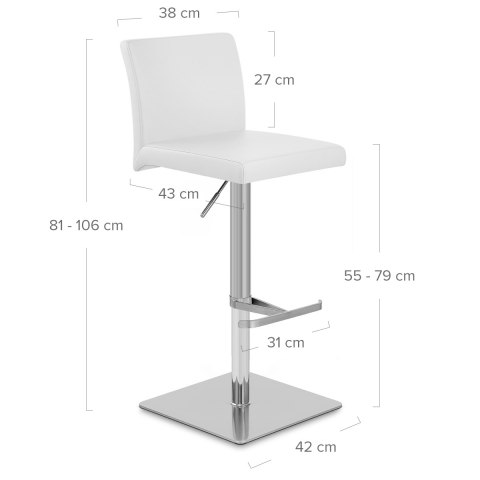 Lexi Brushed Steel Stool White