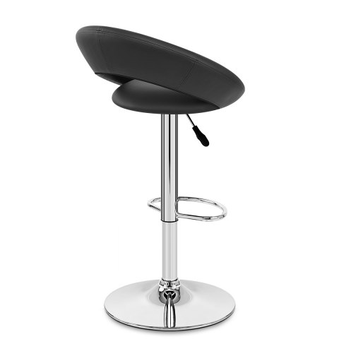 Padded Crescent Bar Stool Black