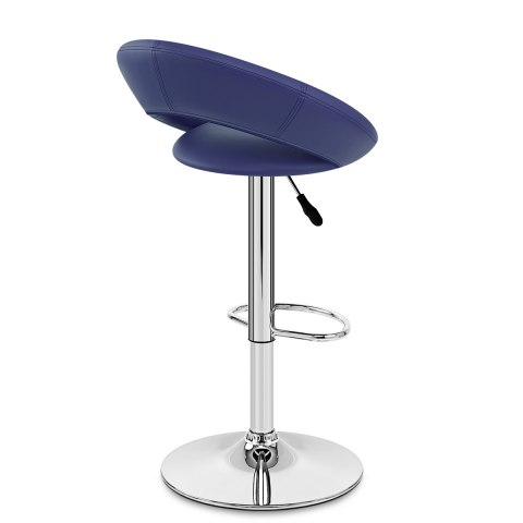 Padded Crescent Bar Stool Blue